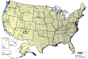 Map of the United States showing TsunamiReady communities