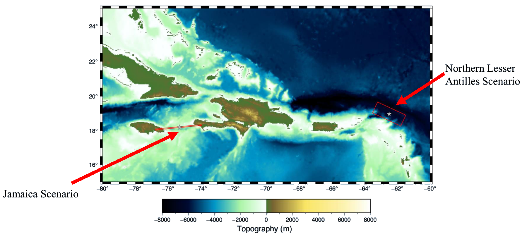 Map showing the locations of the two CARIBE WAVE 2021 scenarios